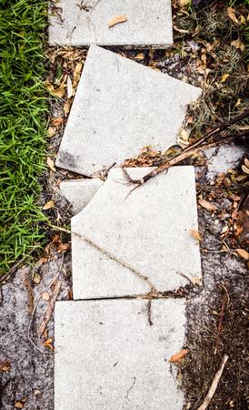 Broken pathway pavement slabs 写真素材