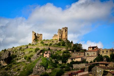 Spanish medieval castle at Peregrina. Castilla y Leon. Guadalajara. Sunny day
