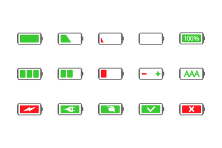 powered: energy icon, battery icon Illustration