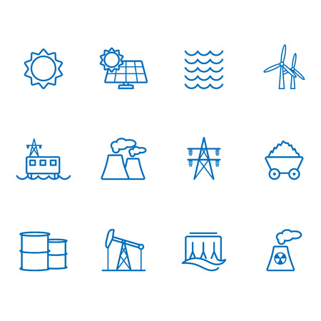 power generator: Power generator line icons Illustration