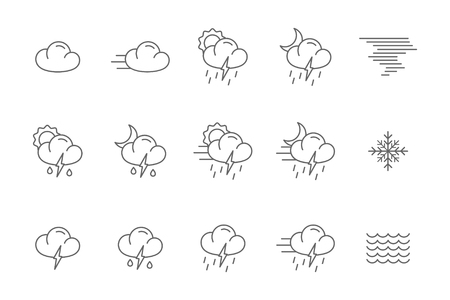 drizzle: weather icons line collection black