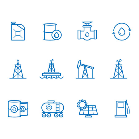 power generator: Fuel and Power generator line icons
