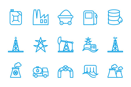 thermal power plant: Fuel and energy icons Illustration