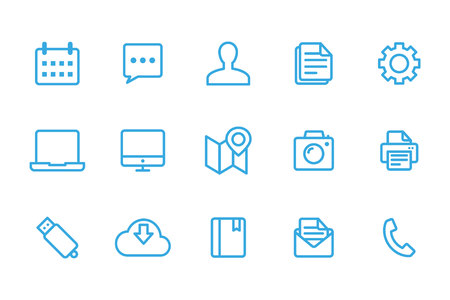 newspaper roll: Office icons Illustration