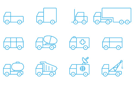 autotruck: Transportation icons line Illustration