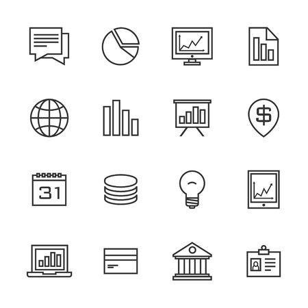 bussines: bussines strategy black line icons