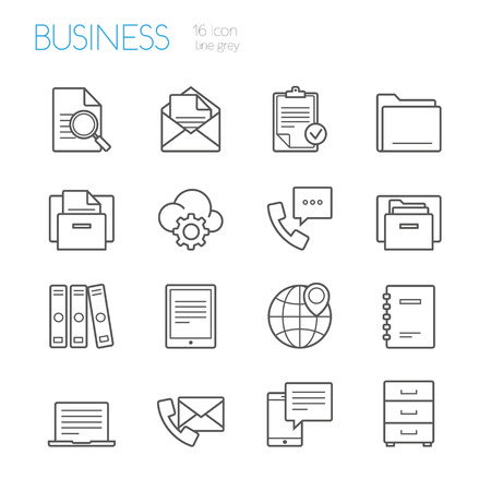 bussines and office line icons grey