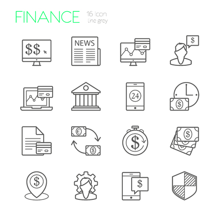 Banking and finance line icons