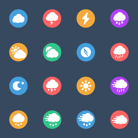 windy day: Meteo icons flat