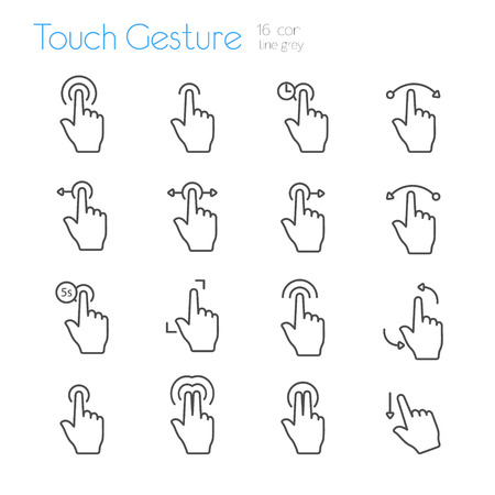 touch: Touch Gesture Icons Line Vector Illustration