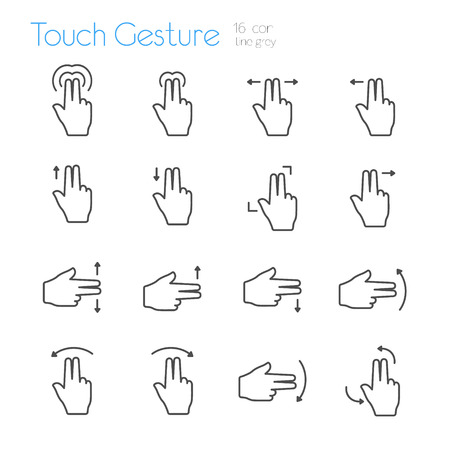 touch: Touch Gesture Icons Line Double