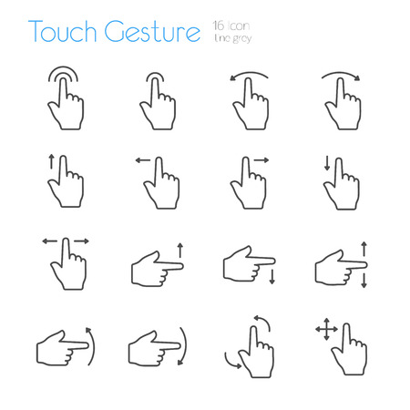 touch: Touch Gesture Icons Line Gray Illustration