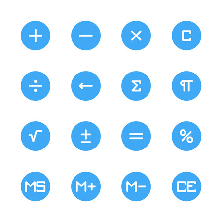 millions: button calculator flat icons