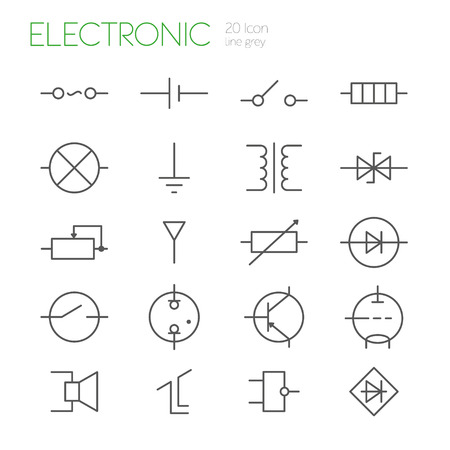 transistor: Electronic components line gray icons set of 20 Illustration