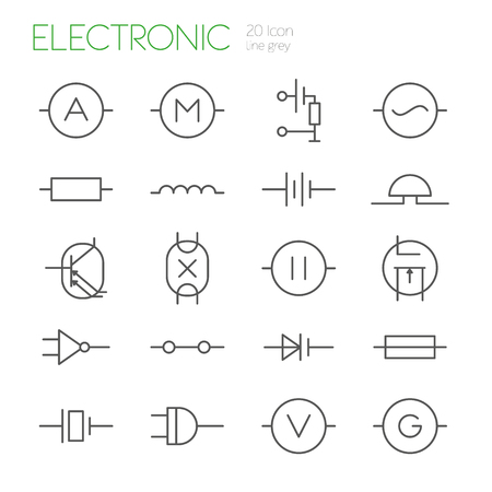 capacitor: Electronic components line gray icons set of 20 Illustration