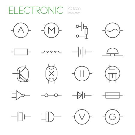 light emission: Electronic components line gray icons set of 20 Illustration