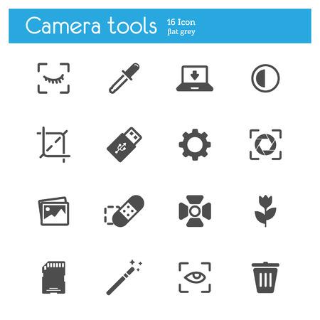memory stick: Camera tools flat icons set of 16