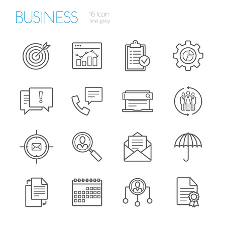 gray line: bussines gray line icons set of 16