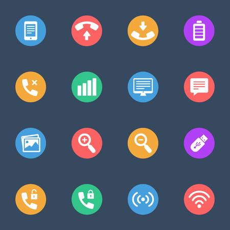 tehnology: tehnology flat icon set of 16