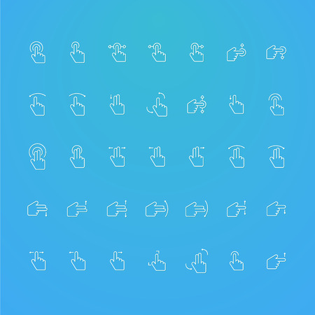 touch screen: touch screen line collection icons set of 35