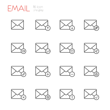 E-mail line gray icons set of 16 Illustration