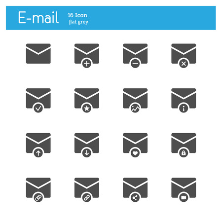 find images videos: E-mail flat gray icons set of 16