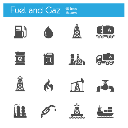 fuel and gaz flat icons set of 16