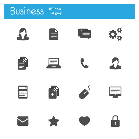 email icons: Business signs flat gray icons set of 16