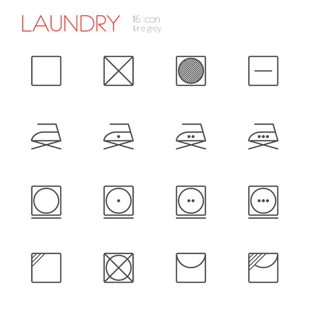 tumble drying: Laundry line gray icons set of 16