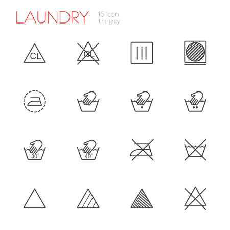 laundry care symbol: Laundry line gray icons set of 16
