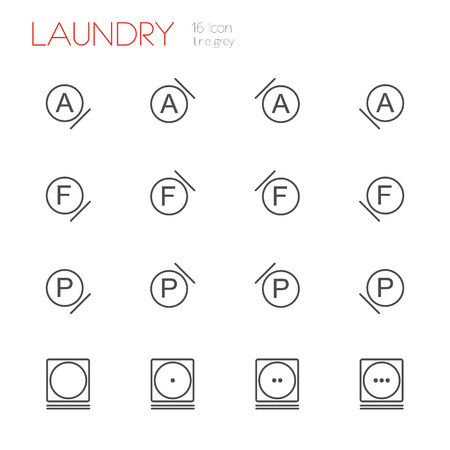 laundry line: Laundry line gray icons set of 16