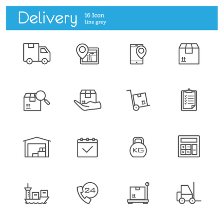 transportation service, delivery service line icons