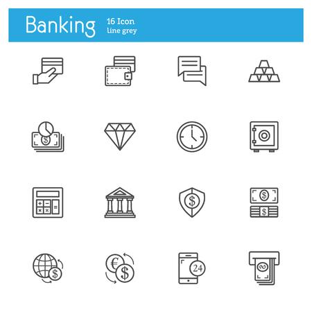 cash register building: Banking line icons, Finance line icon set