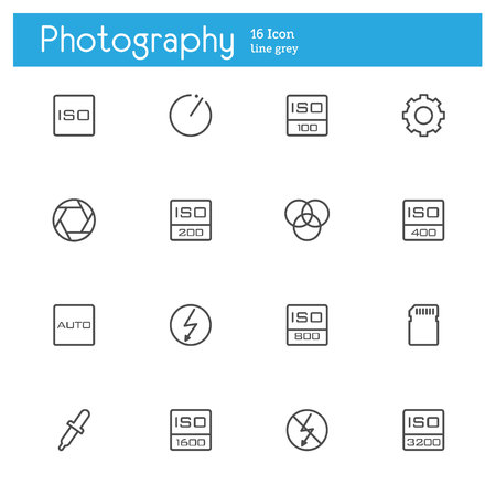 off balance: Photography, control and setting line icons set