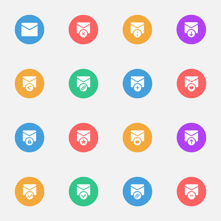 E-mail flat  icons on the color substrate Illustration