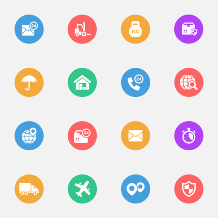 the substrate: Logistics flat icons on the color substrate set Illustration