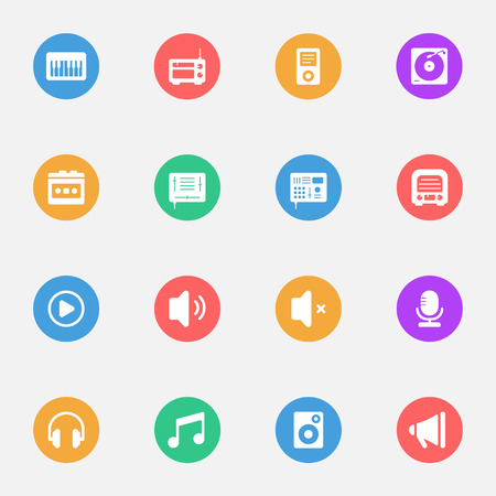 Music flat  icons on the color substrate Illustration