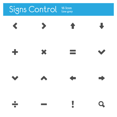 Signs Control flat  icons set of 16