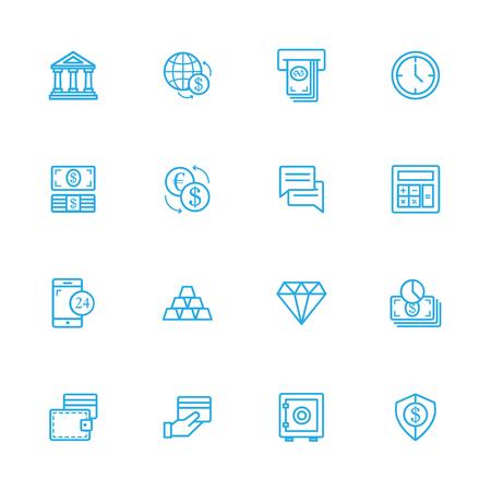 cash register building: Banking blue line icons, Finance blue line icons