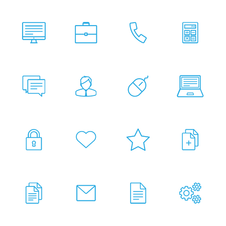 bussines: Bussines and office blue line of icons set of 16
