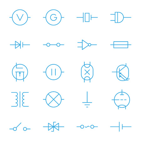 triode: Electronic components blue line vector icons set Illustration