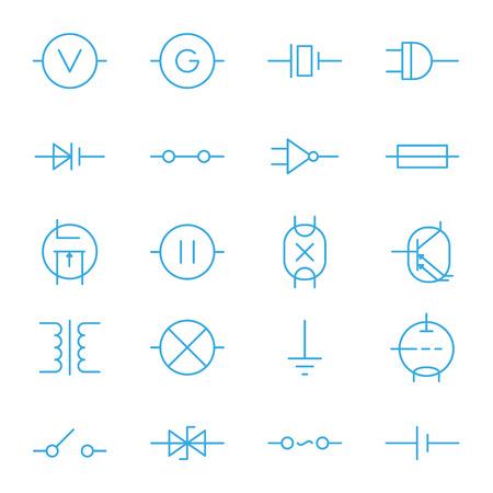 electronic components: Electronic components blue line vector icons set Illustration