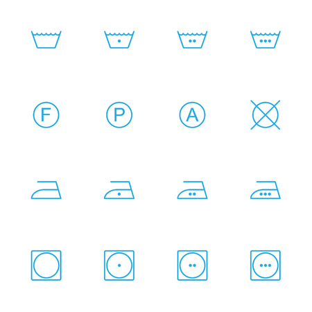 bleaching: Laundry line blue icons, warning information blue line icons