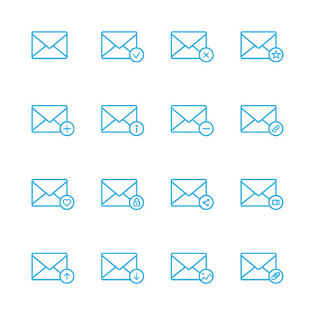 find images videos: E-mail line blue icons set of 16