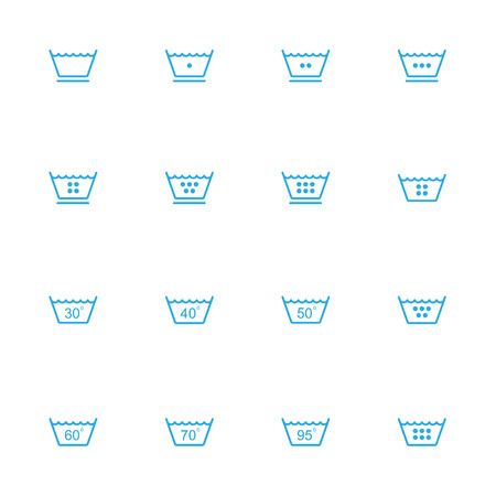 laundry line: Laundry line blue icons set of 16 Illustration