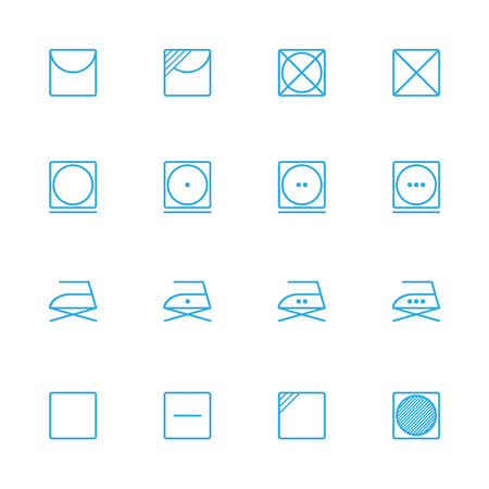 laundry line: Laundry line blue icons , washing instruction  line blue icons