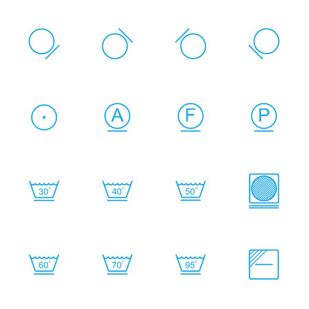 instruction: Laundry line blue icons , washing instruction blue icons Illustration