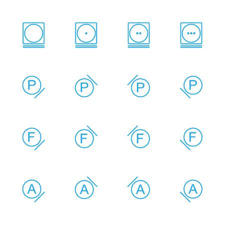 Laundry line blue icons , washing instruction  line blue icons