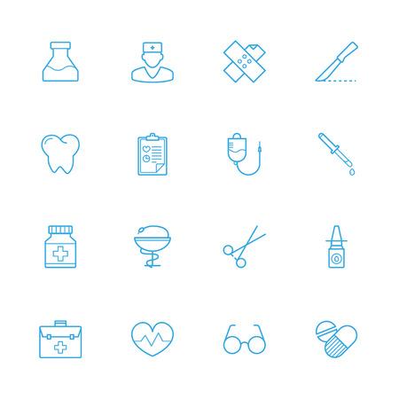 eye pipette: Medicine blue line icons, Treatment blue line icons Illustration