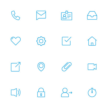 iconography: Web blue line icons for social use Illustration